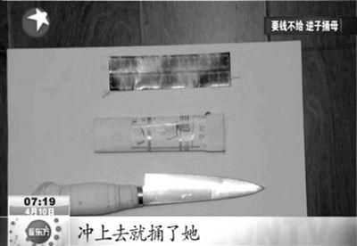 汪某行凶所用的刀具。东方卫视视频截图