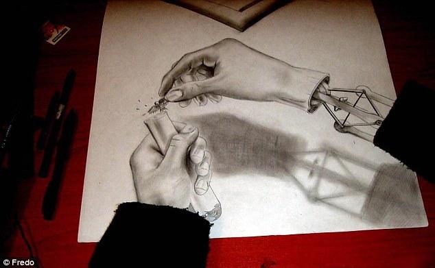 智利艺术家手绘3d铅笔画