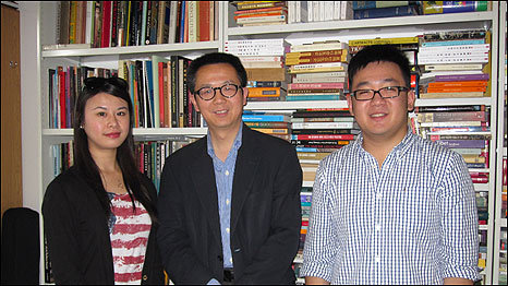 Professor Tao, from SOAS, with two of his students