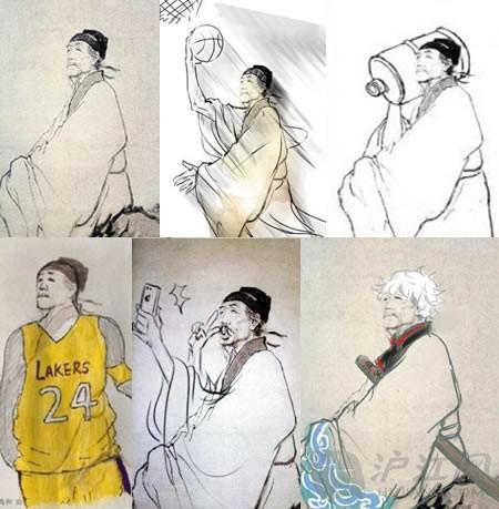 《登高》的配图,由已故的人物画大师蒋兆和先生绘制.