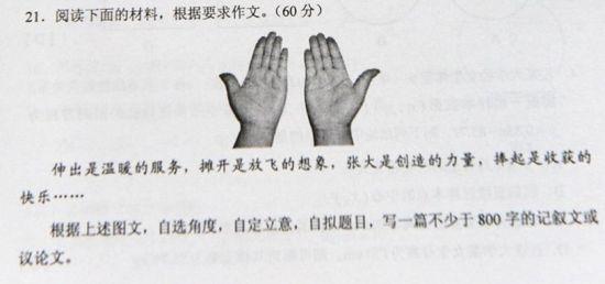 2012年湖南高考作文:一双手