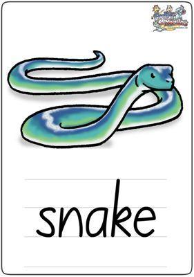 """英语学习卡片""""snake"""""""