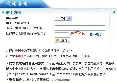 全国2012年在职联考成绩查询时间及入口