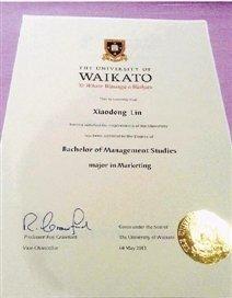 林小姐的新西兰怀卡托大学毕业证