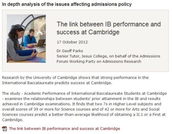 剑桥大学于2013年对IB学生的分析