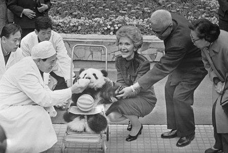 Nancy Reagan, wife of former US President Ronald Reagan, helps feed a baby Panda during a visit to the Peking Zoo, Friday, April 27, 1984, Peking, China. 1984年4月27日,南希・里根在北京动物园帮忙喂大熊猫宝宝。