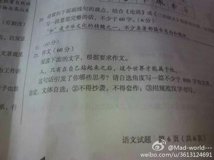 2014四川高考作文:人只有站起后世界才属于他图片