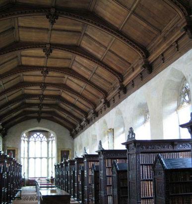英国剑桥大学,圣约翰学院的老图书馆。Old Library, St. John's College, Cambridge University, Cambridge, UK
