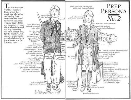 """《权威预科生手册》对""""预科着装""""的描述"""