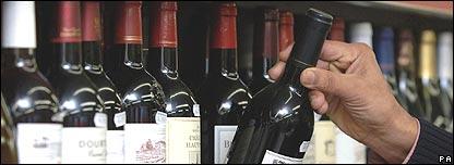 Wine on a shelf