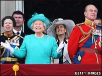 The Queen and the Royals on balcony