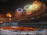 Fireworks at the Bird's Nest stadium in Beijing