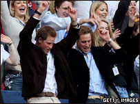 Princes William and Harry watching the Diana concert