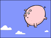 Cartoon of flying pig