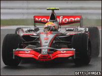 Hamilton driving to victory in the Japanese Grand Prix