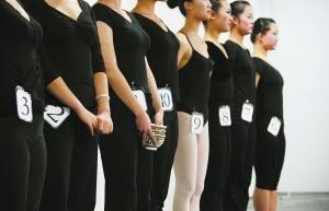图为舞蹈专业等候上场的考生们,一考生手拿瓷碗准备展示顶碗舞。 东方IC 供图