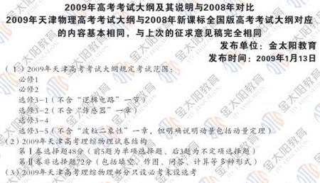 2009年高考物理大纲及08年对比分析(天津版)