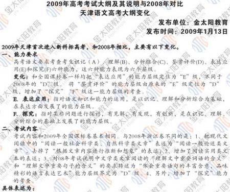 2009年高考语文大纲及08年对比分析(天津版)