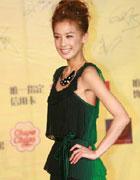 黄圣依薄纱绿裙