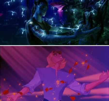 風中的精靈,上:《阿凡達》,下:《風中奇緣》