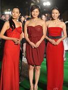 三女星红裙竞艳