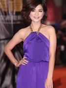ELLA紫色长裙气质亮相