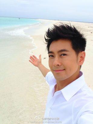林志穎微博稱在海島拍照