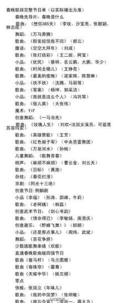 媒体曝春晚节目单