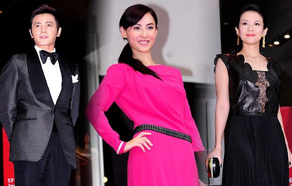在釜山海云台主演红地毯v云台,爱戴张东健,章子怡,张柏芝盛装举行.照性感出席图片