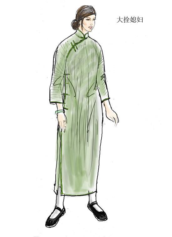 资料图片:电视剧《茶馆》服装设计图(34)图片