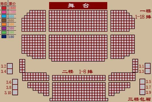 资料图片:国家话剧院--海淀剧院座位图