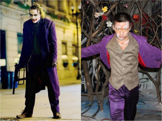 王宝强造型和蝙蝠侠小丑对比