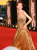 林志玲金色长裙显华贵