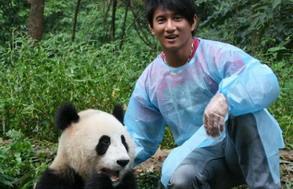 吴奇隆:喂大熊猫吃胡萝卜(图)