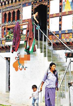 不丹当地居民婚嫁民风淳朴新人拜生殖图腾(图)