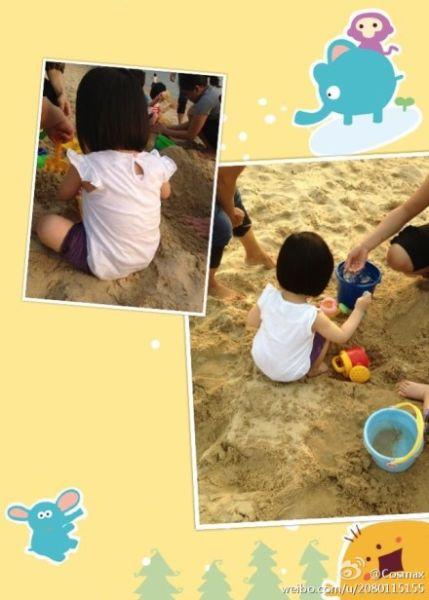 黎姿晒双胞胎女儿沙滩照