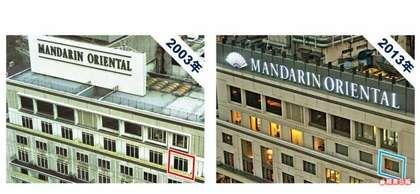 文华酒店。酒店翻新后落地窗改为玻璃。