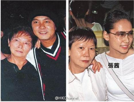 张卫健夫妇与张母合影