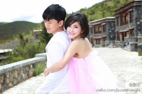 张杰微博中曝光的纯美婚纱照