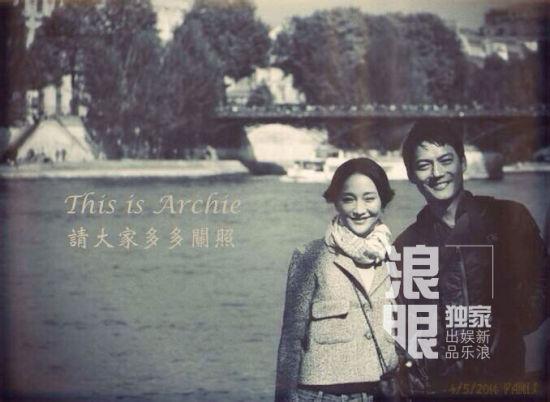 周迅与男友高圣远,5月4日于巴黎甜蜜合影。