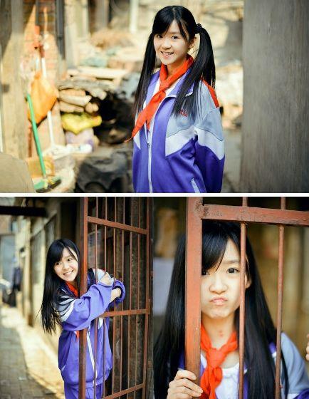 宋伊人去年一组校服写真在微博走红