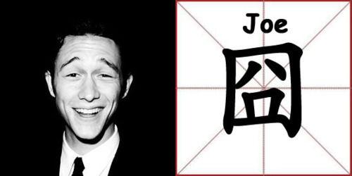 约瑟夫-高登-莱维特在自己的网站上秀汉字
