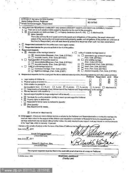 施瓦辛格在提交的离婚材料上签字