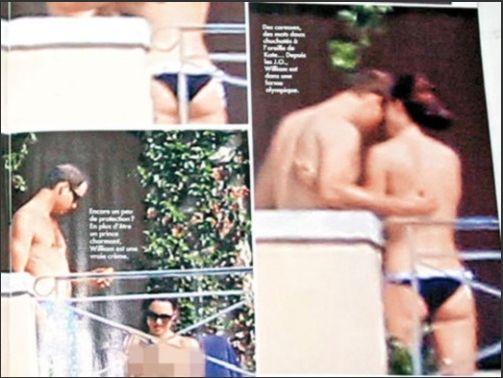 据称是意大利八卦杂志《Chi》的狗仔队偷拍到的凯特王妃怀孕比基尼照