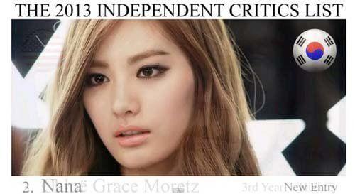 韩国女星Nana荣登第二,也是亚洲女星最美