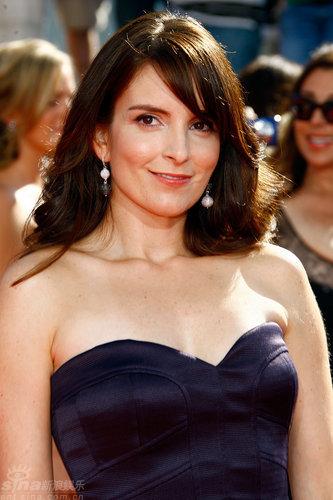 图文:60届艾美奖红毯--蒂娜-菲笑容恬淡含蓄