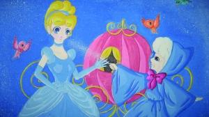 在她的笔下,灰姑娘在神仙教母的仙女棒下变成了真正的公主,这幅画画面图片