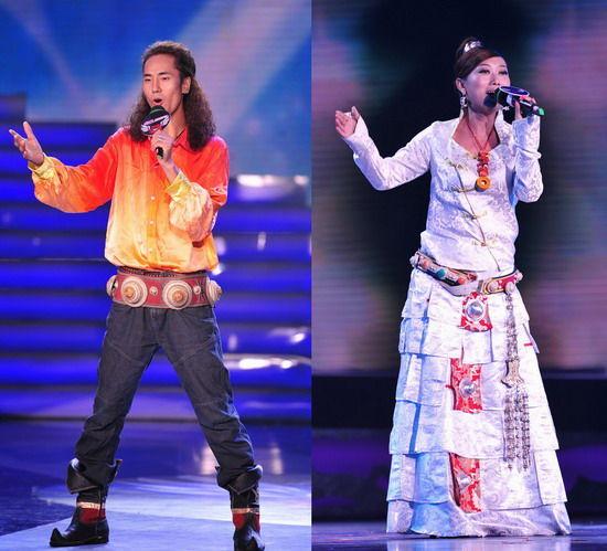 """待定选手:最帅藏歌手格登扎西(左)、实力""""关系户""""泽央卓玛"""