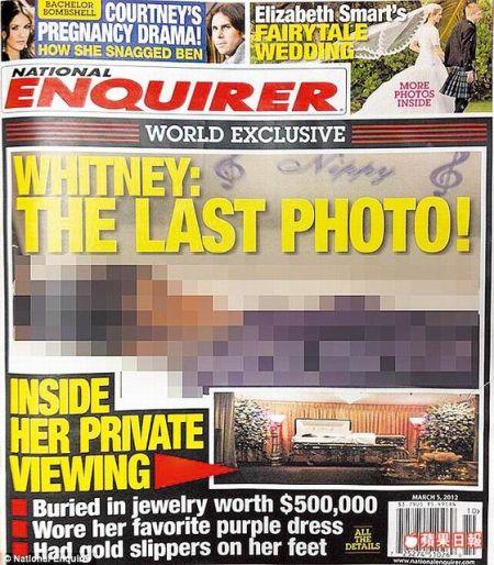 英国媒体以马赛克处理《国家询问报》的惠特妮•休斯顿遗体照。