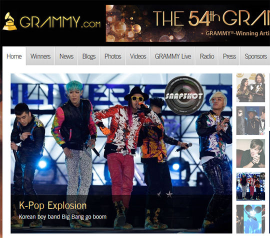BigBang登美国格莱美网站首页